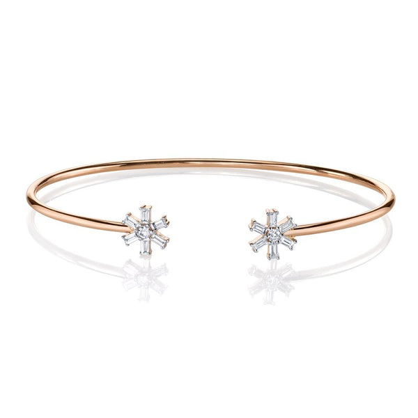 Mars Jewelry 14K Rose Gold Bangle Bracelet w/ Starburst Accents 26812