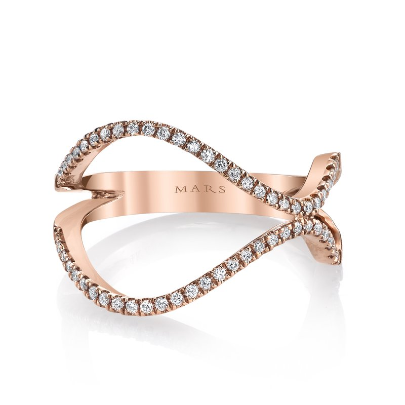 Mars Jewelry 14K Rose Gold Fashion Band w/ Dazzling Diamonds 26715