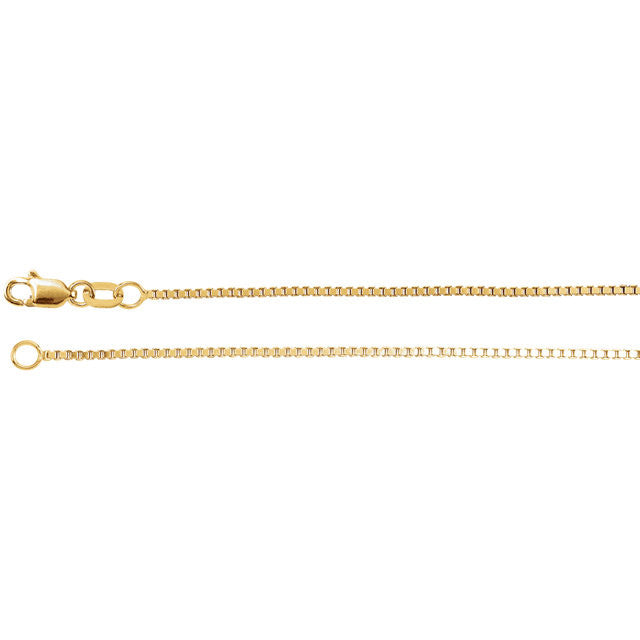 14K Gold 1mm Box Chain with Lobster Closure