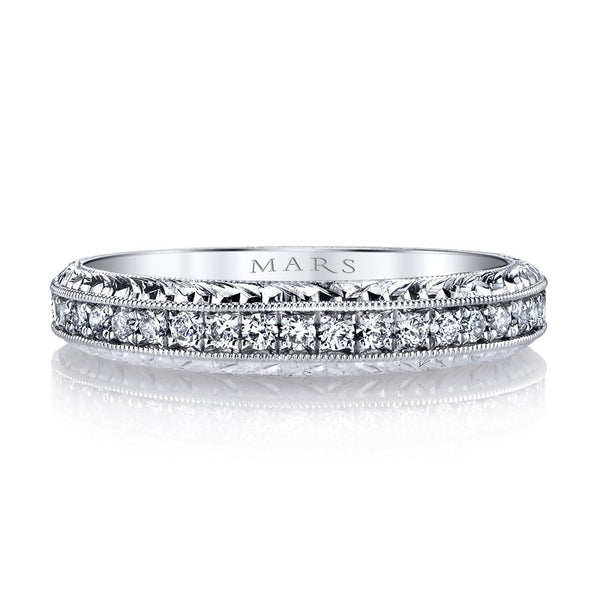 Mars Jewelry 14K White Gold Diamond Stackable Band w/ Miligrain Detailing 13010B