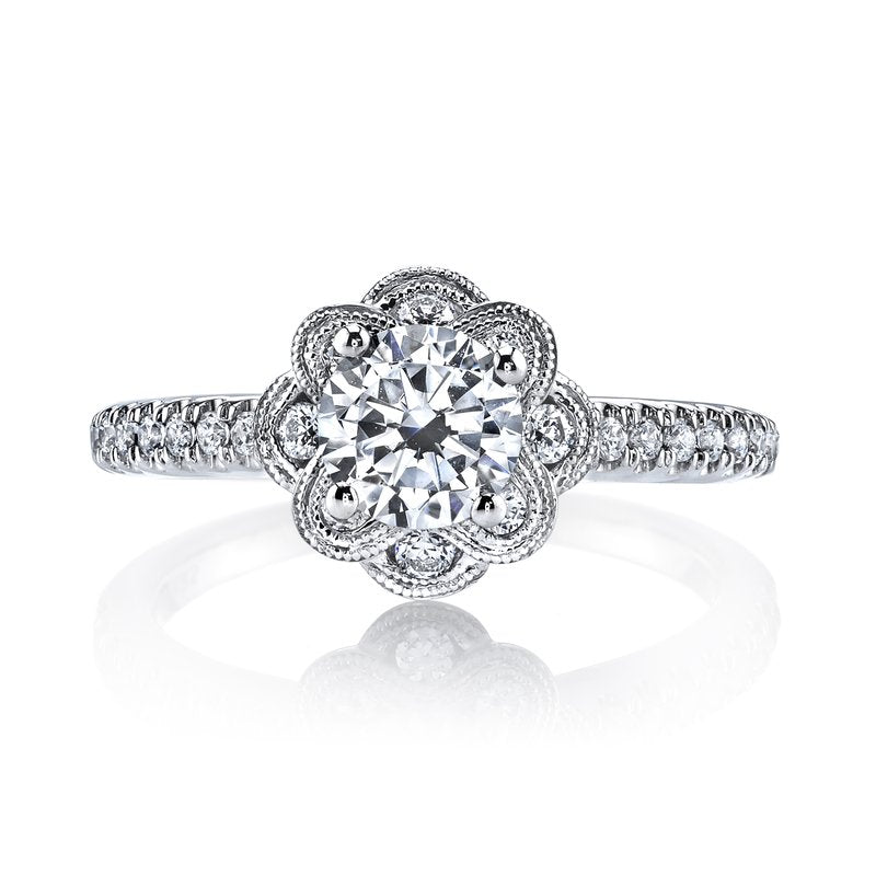 Mars Bridal Jewelry 14K White Gold Engagement Ring w/ Blooming Petal Halo Design & Embellished Profile Design 25871
