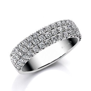 Mars Jewelry 14K White Gold Diamond Stackable Band BE-53