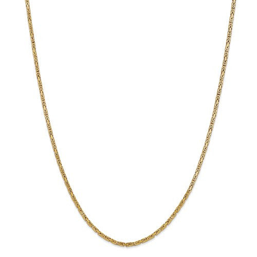14K Gold 2mm Byzantine Chain with Lobster Closure