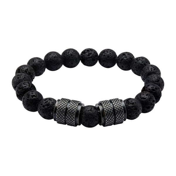 "Inox Jewelry 10mm Black IP & Black Lava Rock 8.5"" Bead Bracelet BR012127"