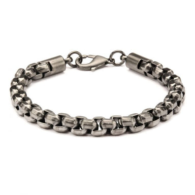 "Inox Jewelry Gun Metal Plated Round Box Chain 8.5"" Bracelet BR0128GM"