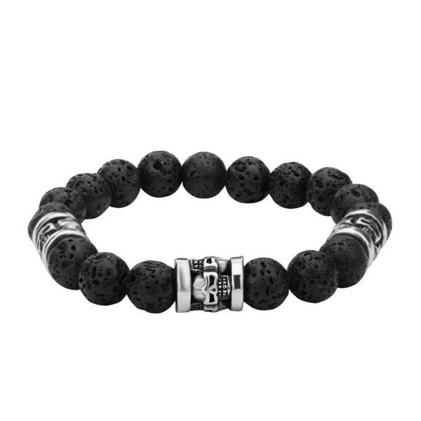 "Inox Jewelry 10mm Steel & Black Lava 8.5"" Bead Bracelet BR100"