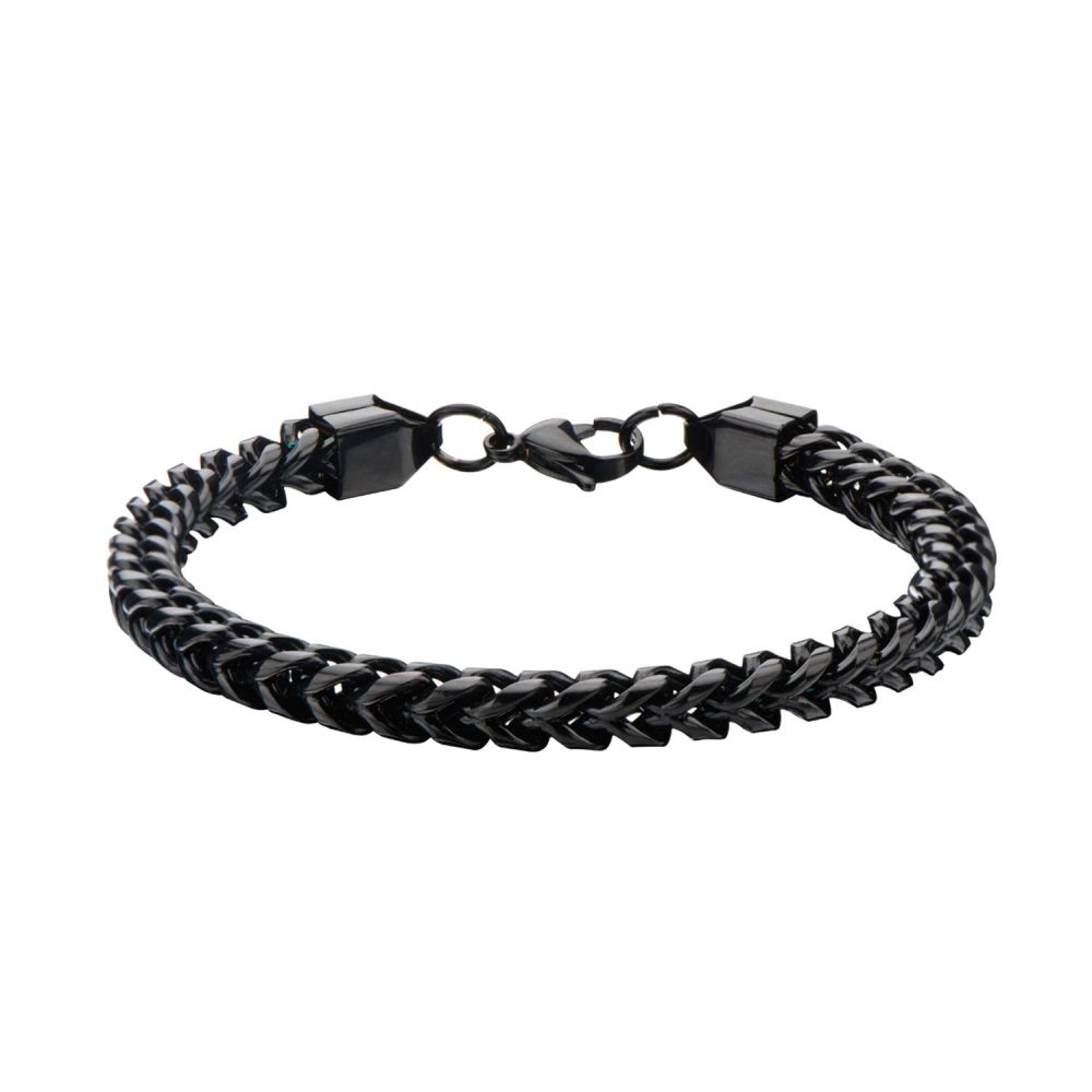 "Inox Jewelry 6mm Black IP Rounded Franco Chain 8.25"" Bracelet BR11416K"