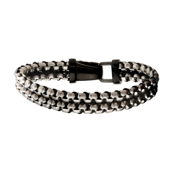 "Inox Jewelry Steel & Paracord Box Chain Link 8.5"" Bracelet BR1471703S"