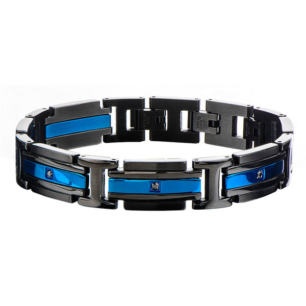 "Inox Jewelry Matte Black & Blue IP w/ Black CZ 7.5"" Stainless Steel Bracelet BR17835"