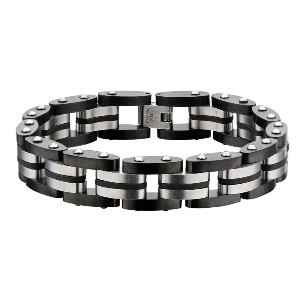 "Inox Jewelry Black Plated & Steel with Rubber 7.75"" Bracelet BR17923"