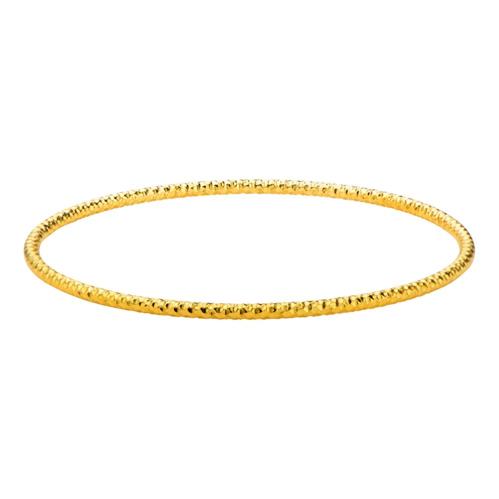 "Inox Jewelry Stainless Steel Gold IP Hammered Bangle 8"" Bracelet BR19379G"