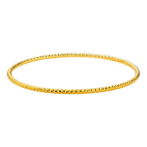 Inox Jewelry Stainless Steel Gold IP Hammered Bangle 8