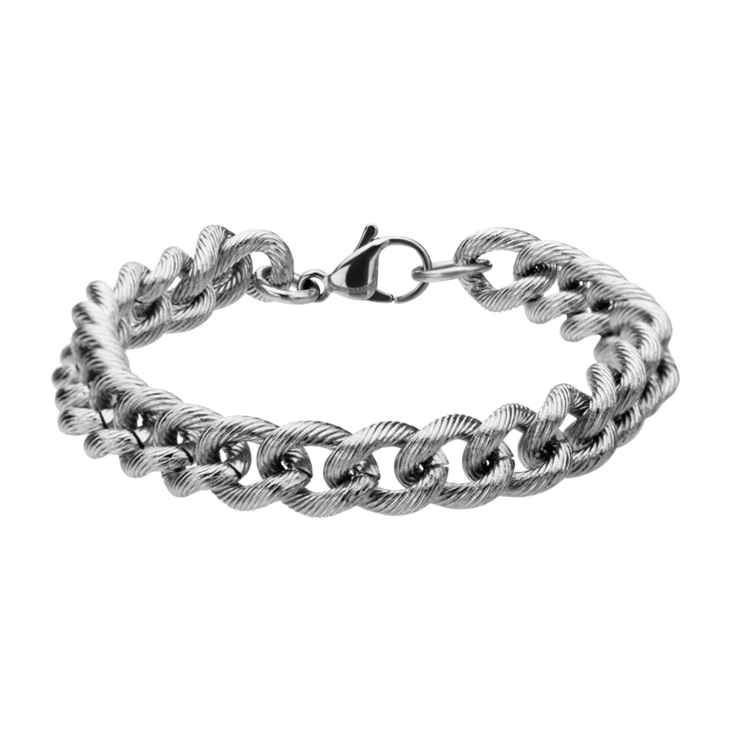 "Inox Jewelry 9mm Stainless Steel Curb Chain 8"" Bracelet BR2005"