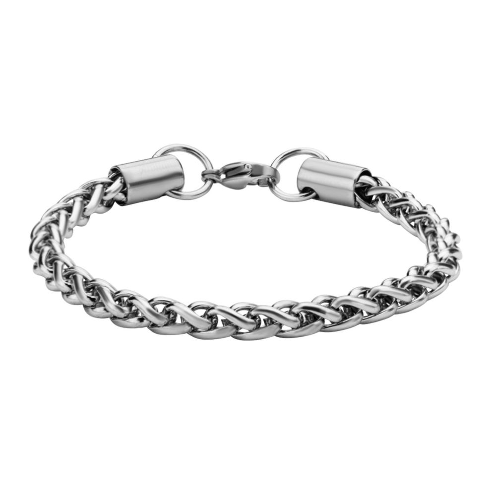 "Inox Jewelry 5mm Stainless Steel Wheat Shiny Chain 7.5"" Bracelet BR2010"