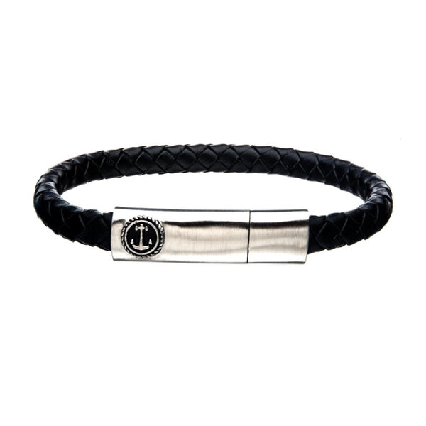 "Inox Jewelry Black Leather w/ Brushed Steel Clasp Bar 8"" Bracelet BR24133BLKS"