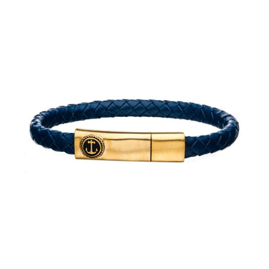 "Inox Jewelry Blue Leather w/ Brushed Gold Plated Clasp Bar 8"" Bracelet BR24133BLUGP"