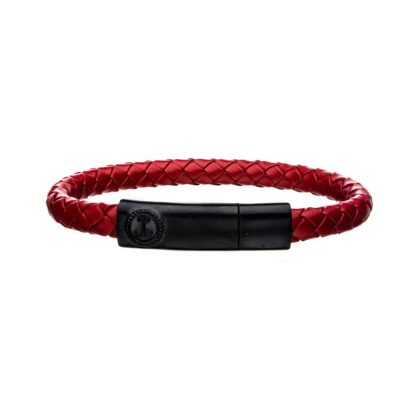 "Inox Jewelry Red Leather w/ Brushed Black Plated Clasp Bar 8"" Bracelet BR24133REDK"
