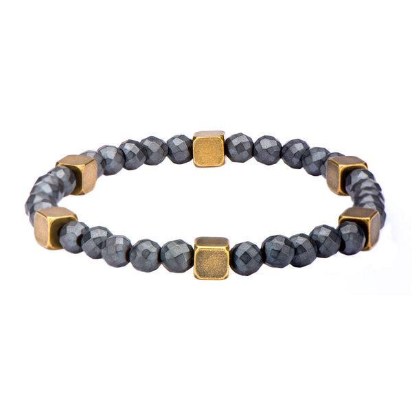 "Inox Jewelry 6mm Grey Hematite w/ Steel Brass 8.25"" Bead Bracelet BR319GRYHM"