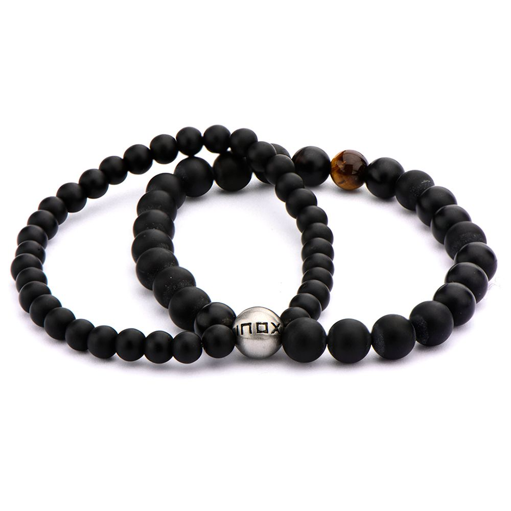 "Inox Jewelry 8mm Double Strand Tiger Eye & Black Onyx 8.5"" Bead Bracelet BR5139"
