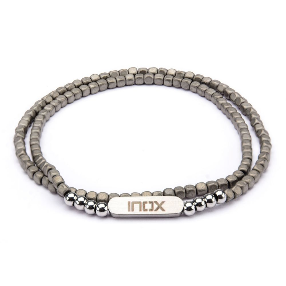 "Inox Jewelry 6mm Grey Hematite Cube & Steel 8"" Bead Bracelet BR621"