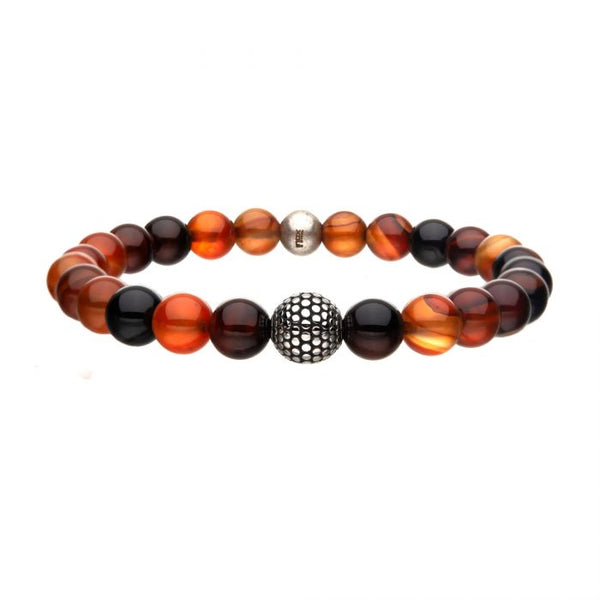 "Inox Jewelry 8mm Natural Variation Red Agate Stone & Steel Ornamental 8.25"" Bead Bracelet BR8605"