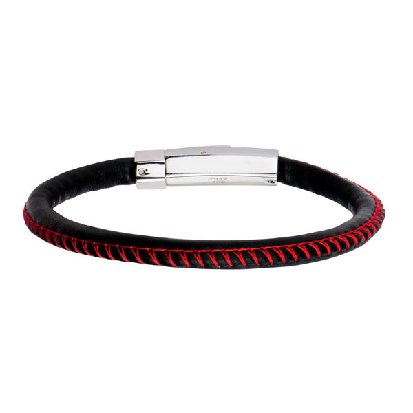 "Inox Jewelry Black Woven Leather Band & Red Stitch 8.25"" Bracelet BR9616"