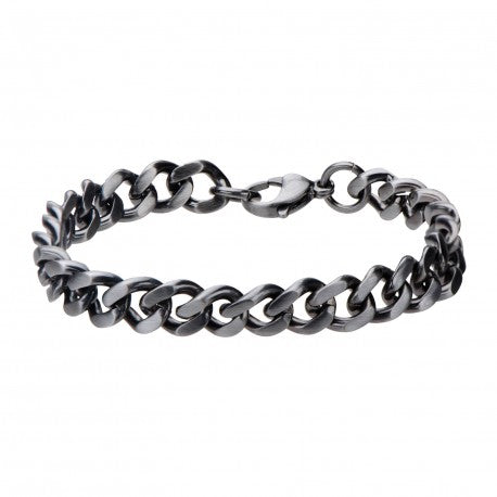 "Inox Jewelry Gun Metal Brushed Curb Chain 8"" Bracelet BR3991"