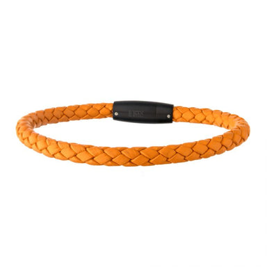 "Inox Jewelry Orange Leather w/ Black Plated Steel Clasp Bar 8"" Bracelet BRATS2ORG"