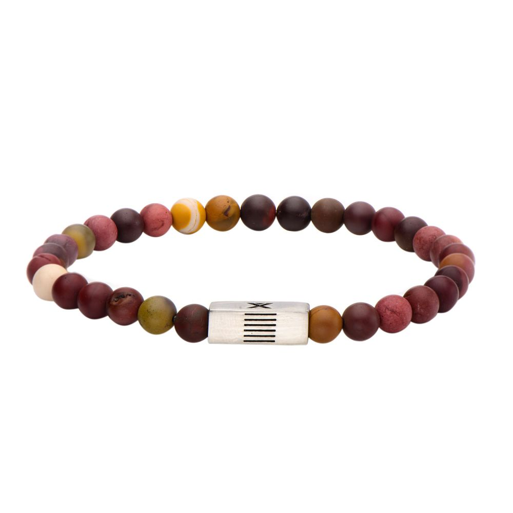 "Inox Jewelry 6mm Stainless Steel, Mookaite Gemstone 8"" Bracelet BREL01"