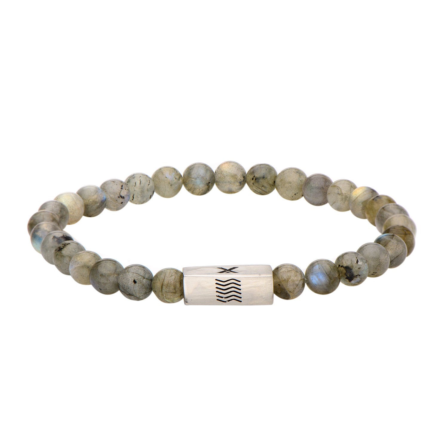 "Inox Jewelry 6mm Stainless Steel, Labradorite Gemstone 8"" Bracelet BREL03"