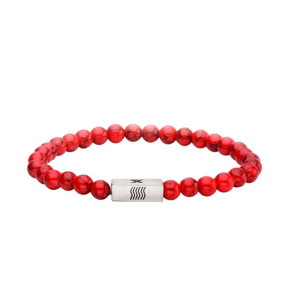 "Inox Jewelry 6mm Stainless Steel, Red Howlite Gemstone 8"" Bracelet BREL04"