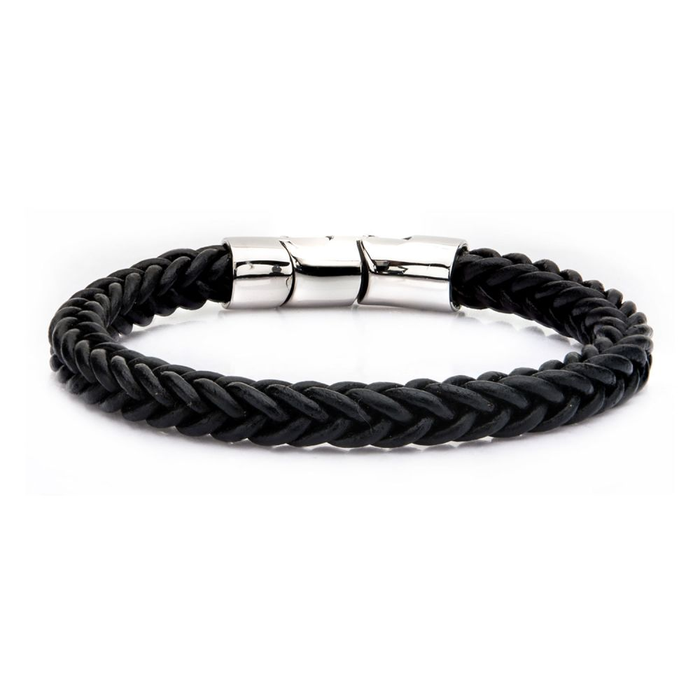 "Inox Jewelry 8mm Black Leather & Stainless Steel 8.5"" Bracelet BRL0237"