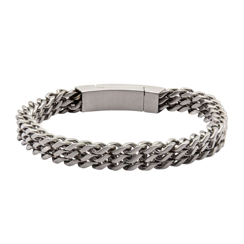 "Inox Jewelry Stainless Steel Triple Curb Chain 8.5"" Bracelet BRLS501"