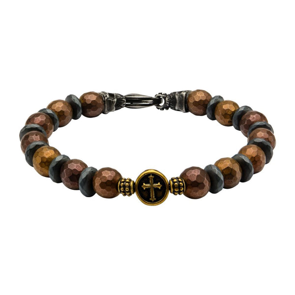"Inox Jewelry 8mm Brown & Black Beads in Cross & Skull  8.5"" Bead Bracelet BRRA148"