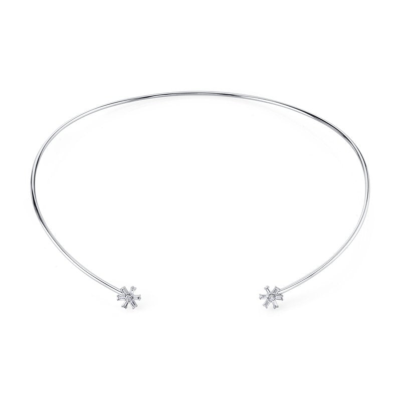 Mars Jewelry 14K White Gold Fashion Collar Necklace w/ Diamond Baguette Starburst Accents 26820