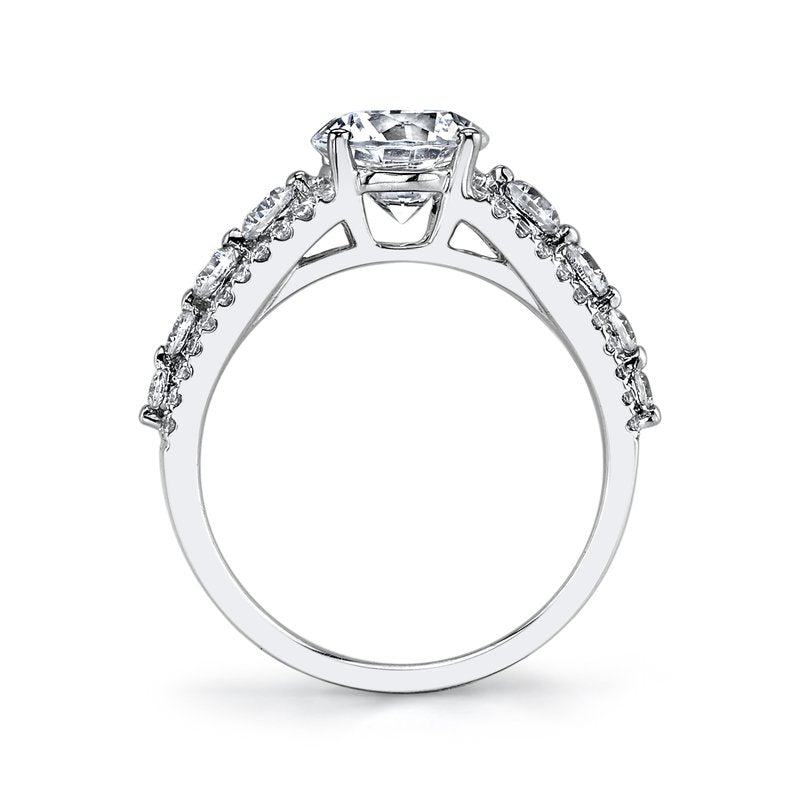 Mars Bridal Jewelry 14K White Gold Engagement Ring w/ Diamond Embellished Band & Diamond Accent Stones 25526