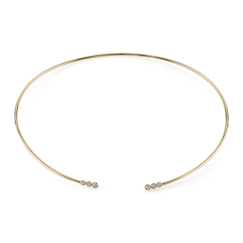 Mars Jewelry 14K Yellow Gold Fashion Collar Necklace w/ Bezel Set Diamonds 26817