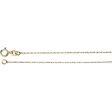 14K Gold .75mm Solid Rope Chain with Spring Ring Closure