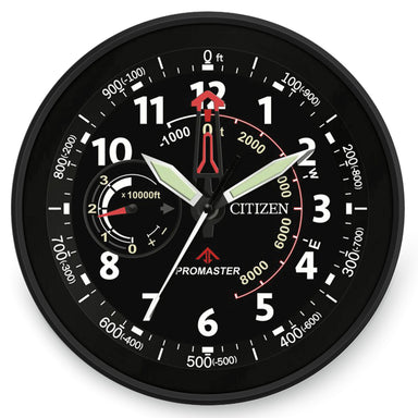 Citizen Gallery Black with Black Dial and Red Accents Wall Clock CC2014