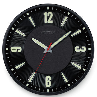 Citizen Gallery Black with Raised Black Leather Dial Luminescent Wall Clock CC2012