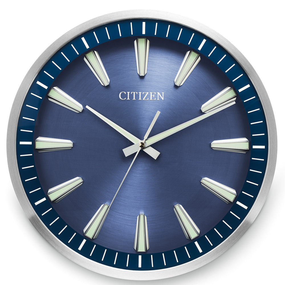 Citizen Gallery Brushed Silver and Dark Wood with Navy Blue Dial Wall Clock CC2010