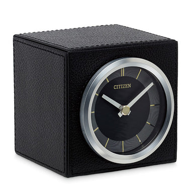 Citizen Workplace Black Leather/Silver-Tone Desk Clock CC1016