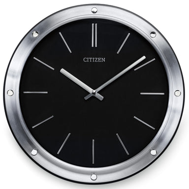 Citizen Gallery Modern Silver-Tone Frame with Black Dial Round Wall Clock CC2001