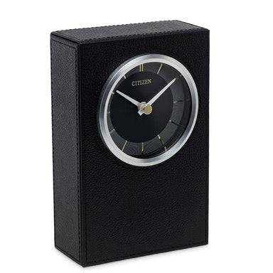 Citizen Decorative Black Leather/Silver-Tone Desk Clock CC1014