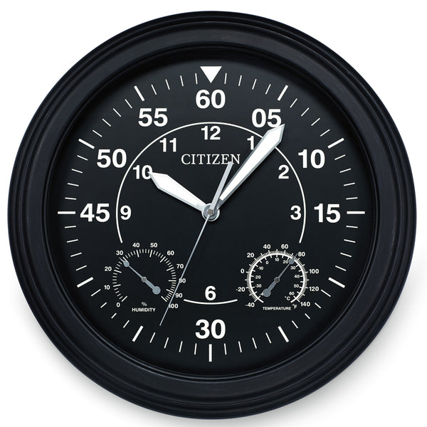 Citizen Outdoor Weather-Resistant Black with Black Dial Luminescent Wall Clock CC2016