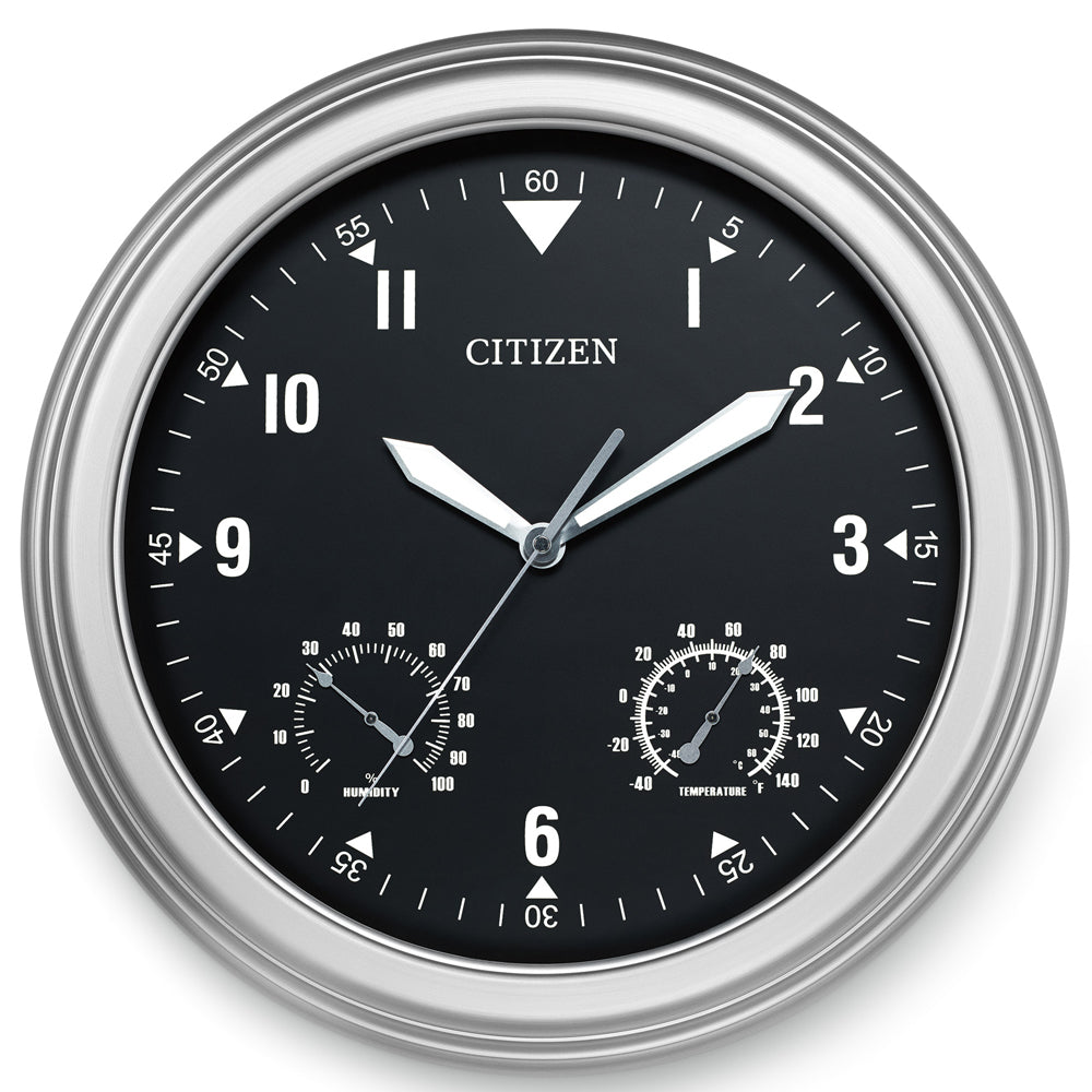 Citizen Outdoor Weather-Resistant Silver-Tone with Grey Dial Luminescent Wall Clock CC2017