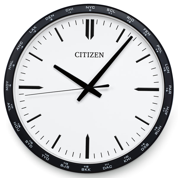 Citizen Gallery World Time Zone Black with White Dial Wall Clock CC2006