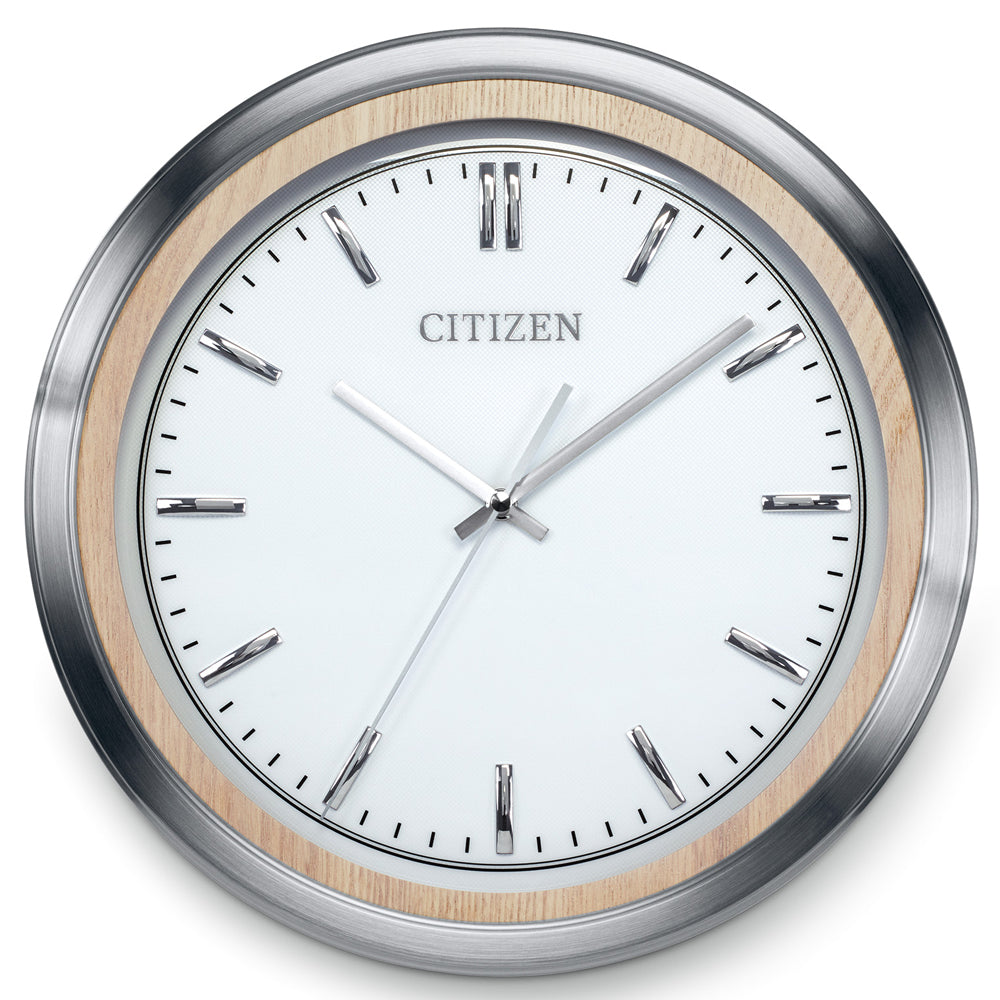 Citizen Gallery Light Beige and Silver-Tone with Silver Color Dial Wall Clock CC2009