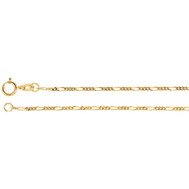 14K Gold 1.25mm Figaro Chain with Spring Ring Closure