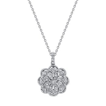 Mars Jewelry 14K White Gold Fashion Necklace w/ Detailed Filigree Pendant 26859